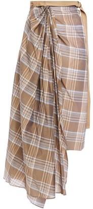 Brunello Cucinelli Asymmetric Draped Checked Cotton And Silk-blend Midi Wrap Skirt