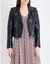 Maje Ladies Black Exposed Zip Basalt Leather Biker Jacket