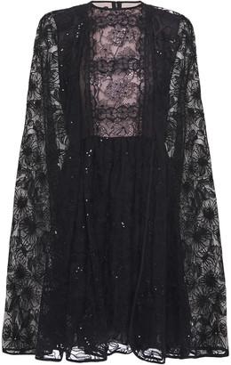 Giambattista Valli Cape-effect Embroidered Tulle And Cotton-blend Lace Mini Dress