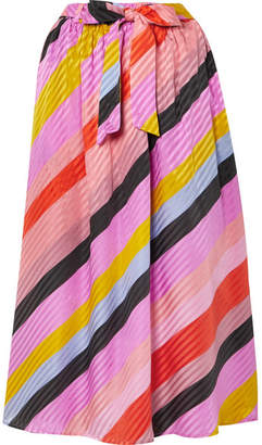 Stine Goya Audrey Striped Silk-jacquard Midi Skirt - Pink