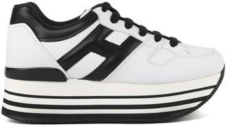 Hogan Maxi H222 White, Black Leather Sneakers