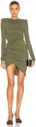 Alexandre Vauthier Ruched Mini Dress in Olive | FWRD