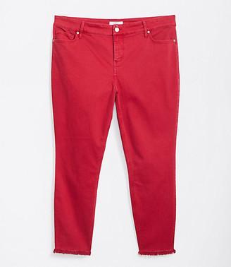 LOFT Plus Frayed High Waist Skinny Crop Jeans in Garden Green