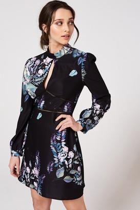 Little Mistress Roxby Black Floral Long-Sleeve Mini Shift Dress