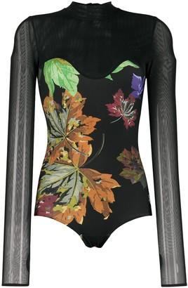 Off-White Mesh Floral-Print Bodysuit