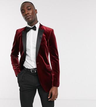 ASOS DESIGN Tall super skinny blazer in burgundy velvet