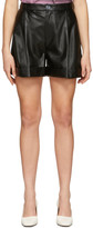 Isa Belle Aeron SSENSE Exclusive Black Faux-Leather Isabelle Pleated Shorts