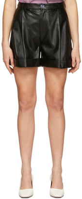 Áeron SSENSE Exclusive Black Faux-Leather Isabelle Pleated Shorts