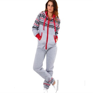 FROOTY AK Women's Aztec Onesie Charcoal White/Small (UK 8)