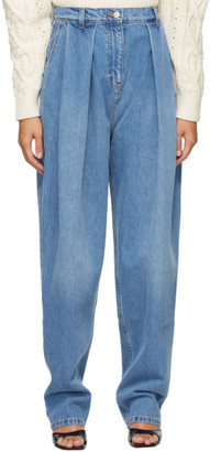Magda Butrym Blue Tapered Pleat Jeans