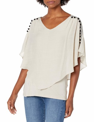 Amy Byer Women's V Front Fashion Popover Top