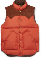 Rocky Mountain Featherbed Suede-trimmed Quilted Nylon Down Gilet - Orange