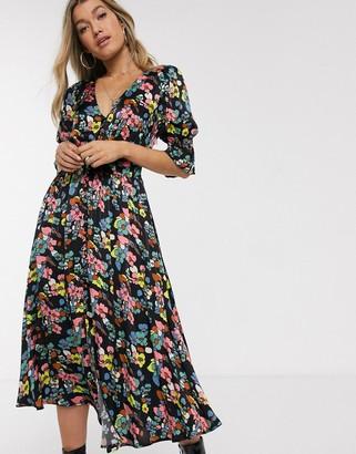 Ghost Anna retro floral midi dress-Black