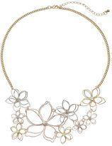 Mudd Tri Tone Wire Flower Statement Necklace
