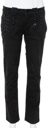 Gucci Black Denim Lace Up Detail Slim Fit Jeans M