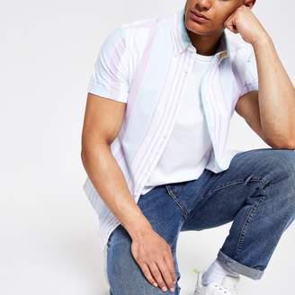 River Island Mens White pastel stripe regular fit shirt