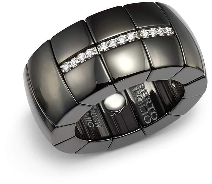 Luce Roberto Demeglio 18K White Gold & Black Ceramic Domino Stretch Ring with Diamonds