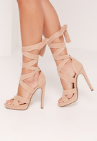 Missguided Wrap Around Strap Platform Heels Nude