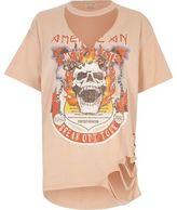 River Island Womens Orange skull print cut out T-shirt