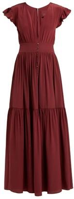 Loup Charmant Mayette Plunge-neck Silk Dress - Womens - Burgundy