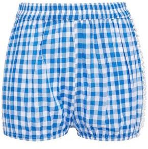 Dodo Bar Or Lattice-trimmed Gingham Cotton-jacquard Shorts