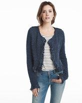 White House Black Market Long Sleeve Fringe Sweater Jacket