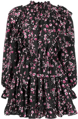 Gina Floral-Print Ruffle-Trim Dress