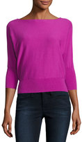 Milly 3/4 Dolman-Sleeve Bateau-Neck Pullover Top, Fuchsia