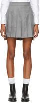 Thom Browne Grey Dropped Back Pleated Miniskirt