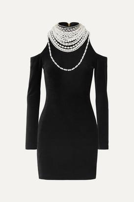 Balmain Cold-shoulder Pearl And Crystal-embellished Stretch-velvet Mini Dress - Black
