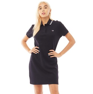 Fred Perry Womens Mesh Cuff Pique Dress Navy