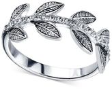 Unwritten Pavé Leaf Ring in Sterling Silver