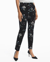 White House Black Market Floral Body-Defining Ankle-Grazing Pants