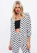Missguided White Polka Dot Gathered Sleeve Blazer, White