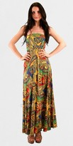 Voom Strapless Paisley Print Causal Maxi Dresses