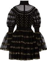 Alexander McQueen Paneled Fil Coupé Stretch-knit Turtleneck Mini Dress - Black