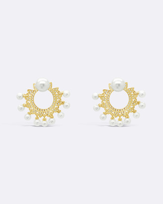 N. Gold n' Pearl Cluster Earrings