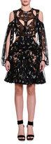 Alexander McQueen Cutout Obsession-Print Chiffon Dress, Black