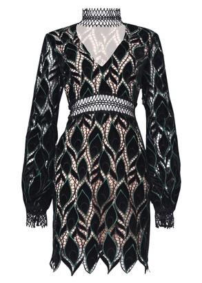 True Decadence Black Green Cut Work Velvet Mini Dress