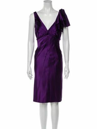 J. Mendel Silk Midi Length Dress Purple