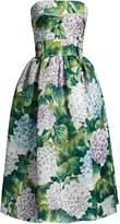 Dolce & Gabbana Hydrangea-print organza strapless dress