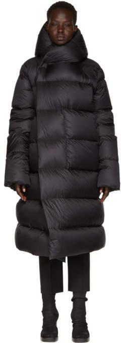 Rick Owens Black Hooded Liner Down Jacket