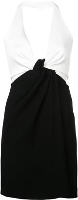 Galvan Halterneck Contrast Mini Dress