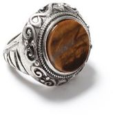 Topman Silver Look and Brown Stone Engraved Ring*