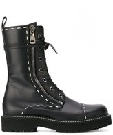 Dolce & Gabbana stitch detailed combat boots - women - Leather/rubber - 38