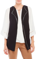 August Silk Faux Leather Trim Vest