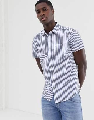 Wrangler short sleeve shirt in stripe-Blue