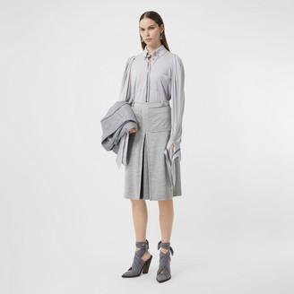 Burberry Box-pleat Detail Technical Wool Jersey A-line Skirt