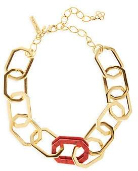 Oscar de la Renta Women's Goldtone & Carnelian Elongated Octagon Link Choker Necklace