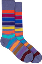 Paul Smith Men's Colorblocked Cotton-Blend Mid-Calf Socks-PURPLE